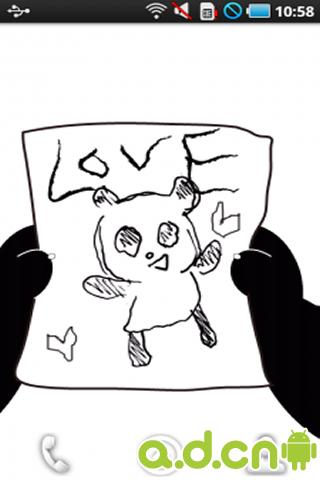 黑白界面可爱小熊猫动态壁纸