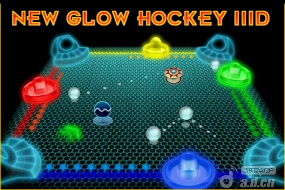 3D歐洲曲棍球 Glow Hockey IIID v1.0.1-Android动作游戏免費遊戲下載