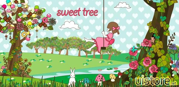 画面非常甜美的一款动态壁纸,画面中的女孩在树下荡着秋千,兔子