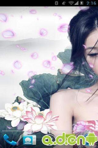 水墨荷花美女动态壁纸
